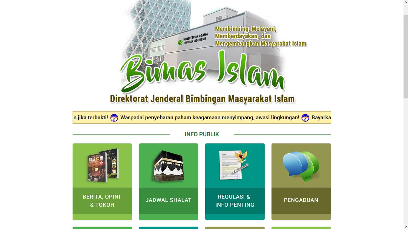 Halaman utama situs Bimas Islam Kemenag.