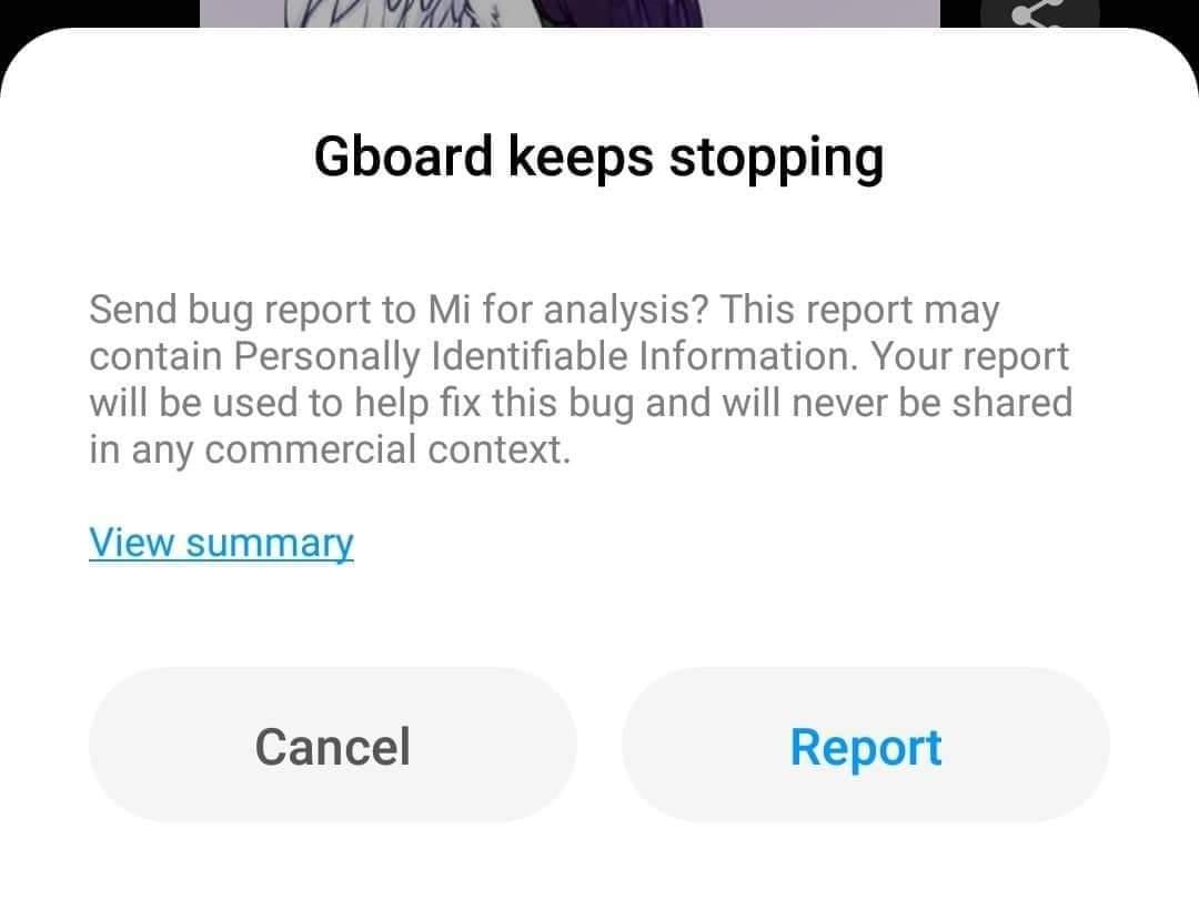 Dialog App Not Responding Gboard di Ponsel Xiaomi