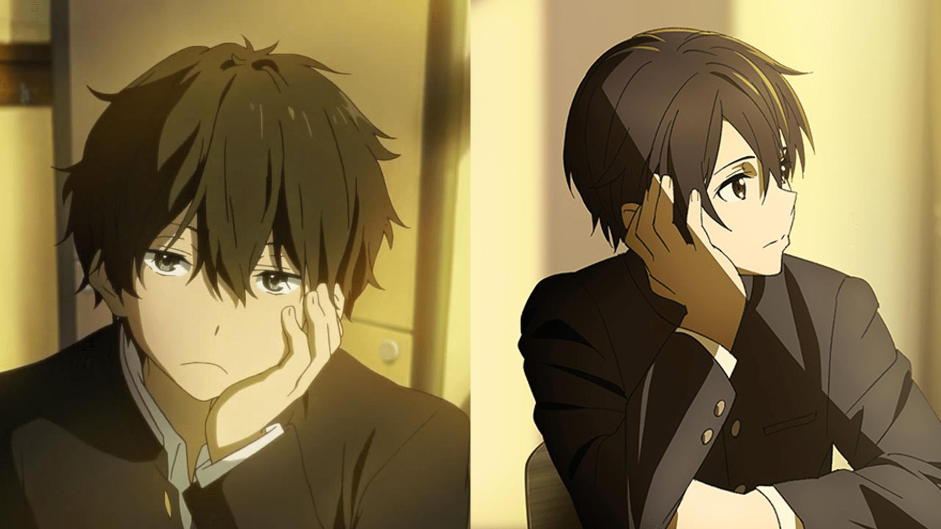 Kemiripan antara gaya Oreki Houtarou dengan Kirito dengan balutan seragam SMA.